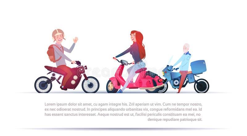 Groep die Mensen Verschillende Elektrische Motorfietsen berijden vector illustratie
