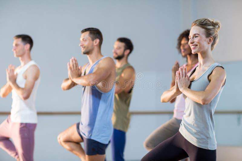 Groep die mensen yoga uitvoeren stock fotografie