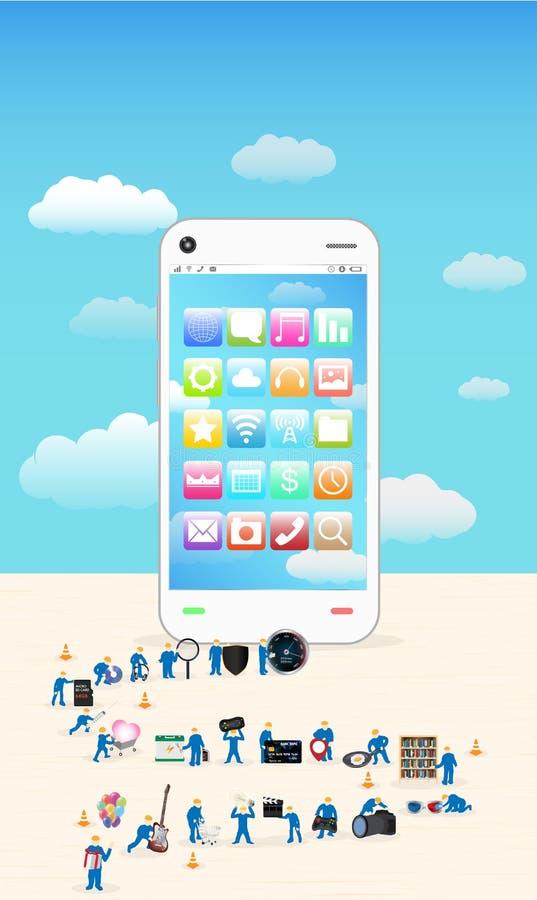 Groep die miniarbeider een smartphone bouwen stock illustratie