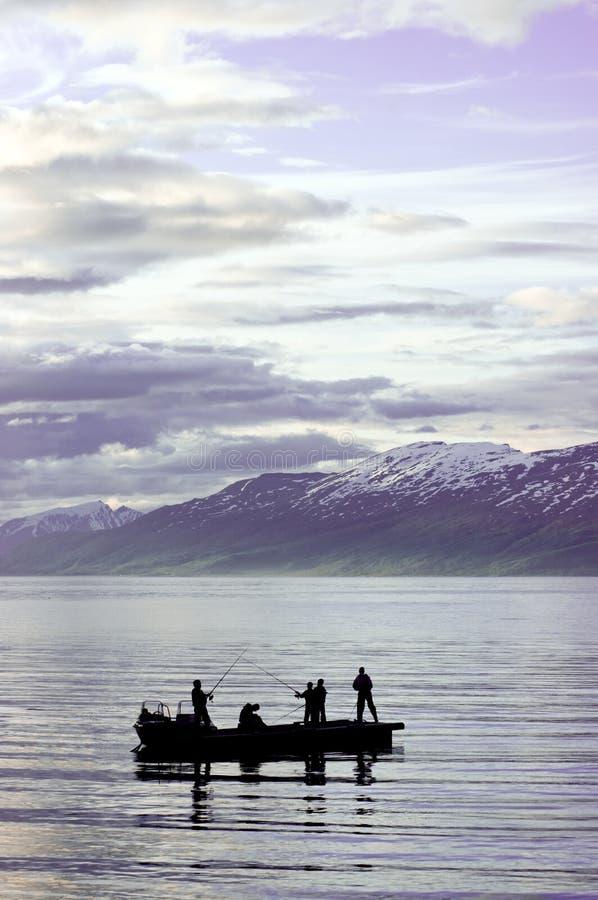 Groep die op fjord vist stock afbeeldingen