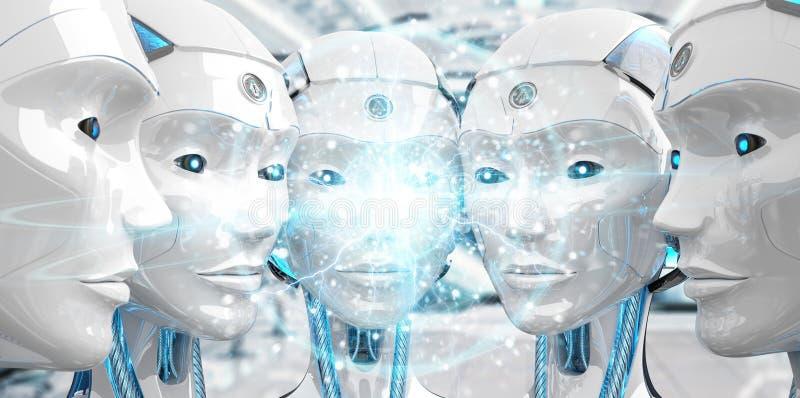 Groep die vrouwelijke robotshoofden het digitale gebiednetwerk 3d teruggeven cre?ren royalty-vrije illustratie