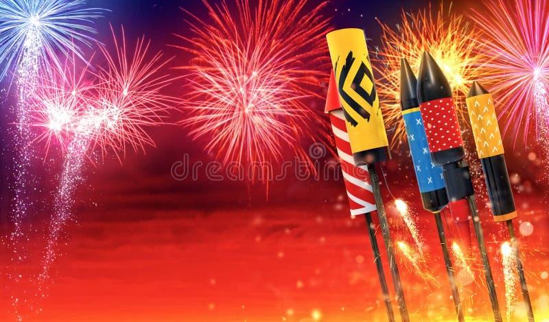 Groep die vuurwerkraketten in de hemel lanceren royalty-vrije illustratie