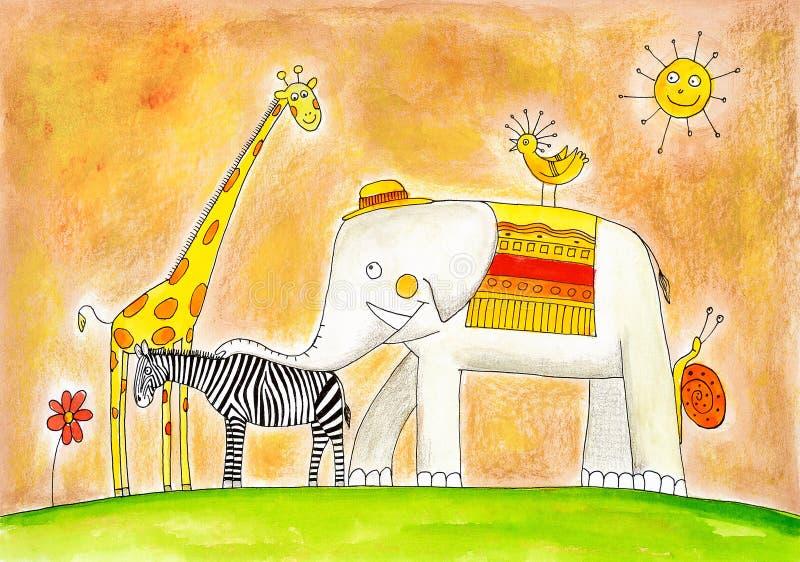 Groep dieren, de tekening van het kind, waterverf het schilderen stock illustratie
