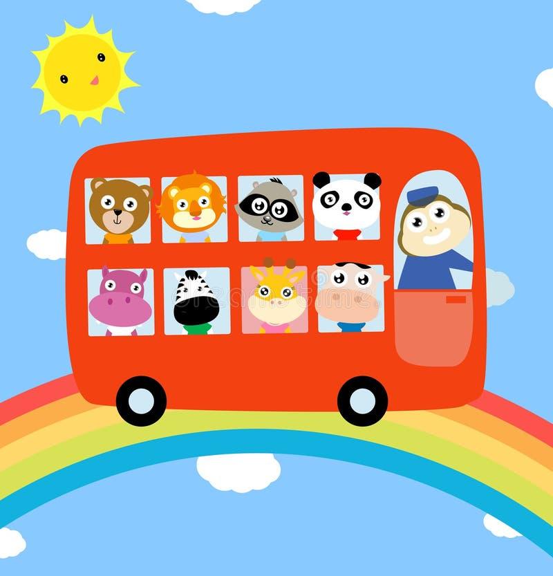 Groep dieren en bus stock illustratie