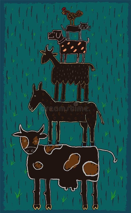 Groep dieren in rij Van een kindverhaal vector illustratie