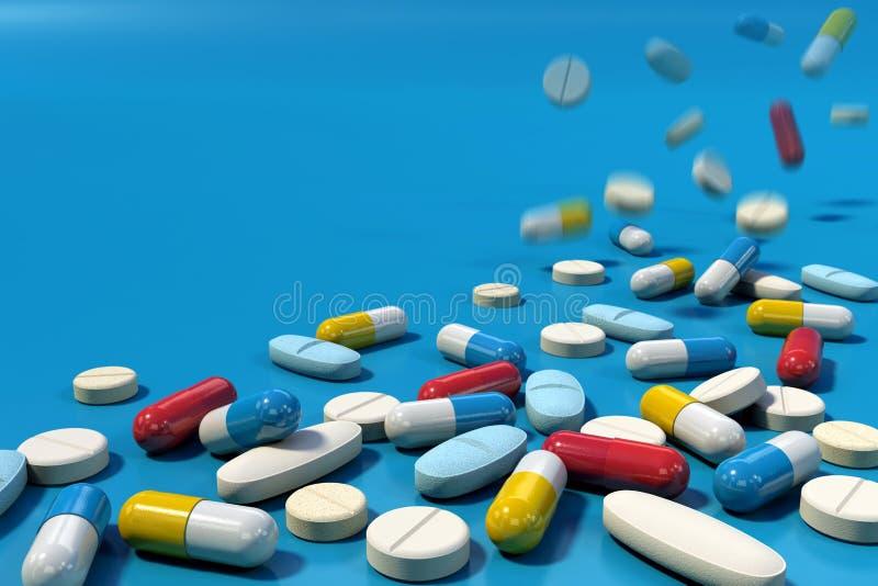 Groep diverse geneeskundepillen die op blauwe oppervlakte vallen royalty-vrije illustratie