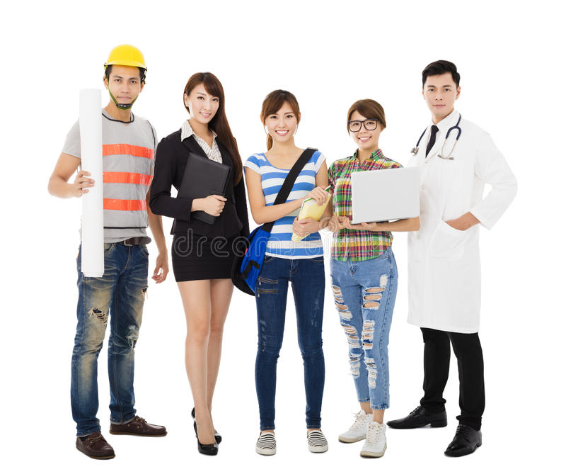 Groep diverse jongeren in verschillende beroepen status royalty-vrije stock foto's