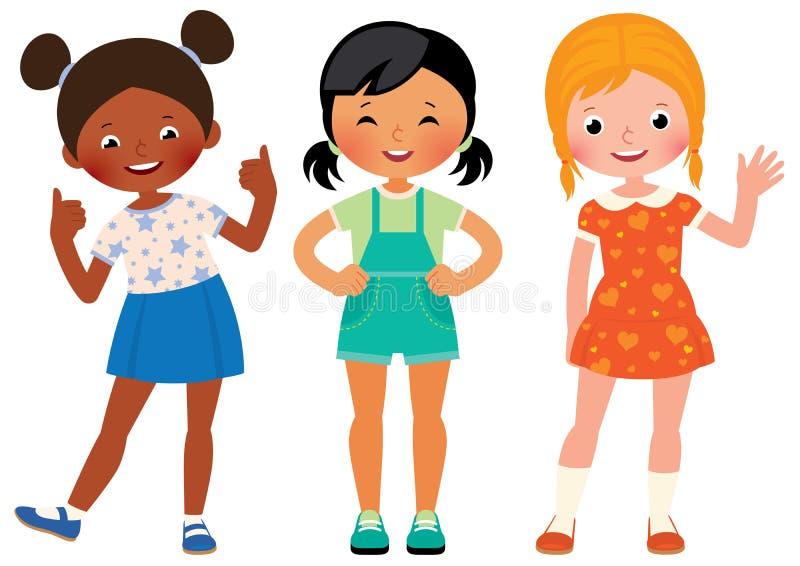 Groep drie kinderenmeisjes van verschillende nationaliteiten Afri royalty-vrije illustratie