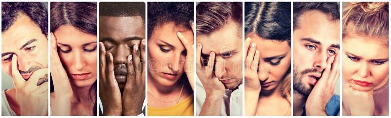 Groep droevige gedeprimeerde mensen Ongelukkige mannen vrouwen stock afbeelding