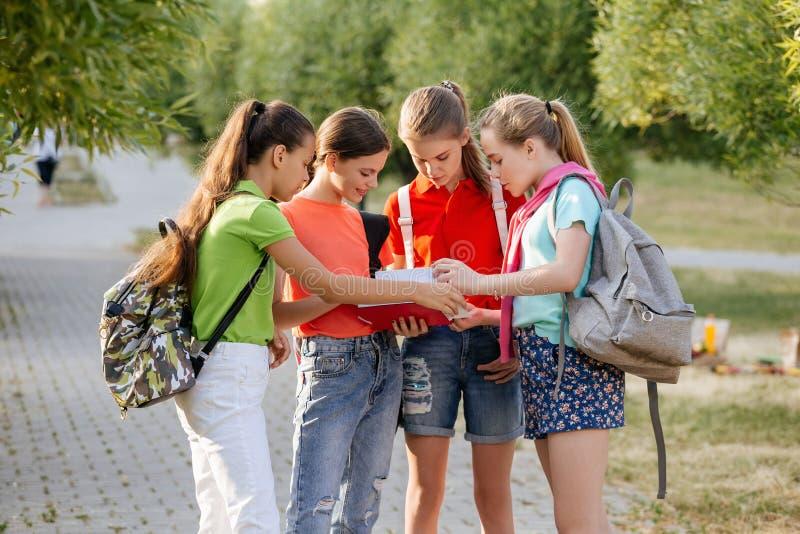 Groep en schoolkinderen die lachen omhelzen stock fotografie