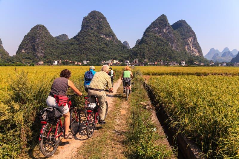 Groep fietsers die op zandwegen door gebieden drijven royalty-vrije stock fotografie
