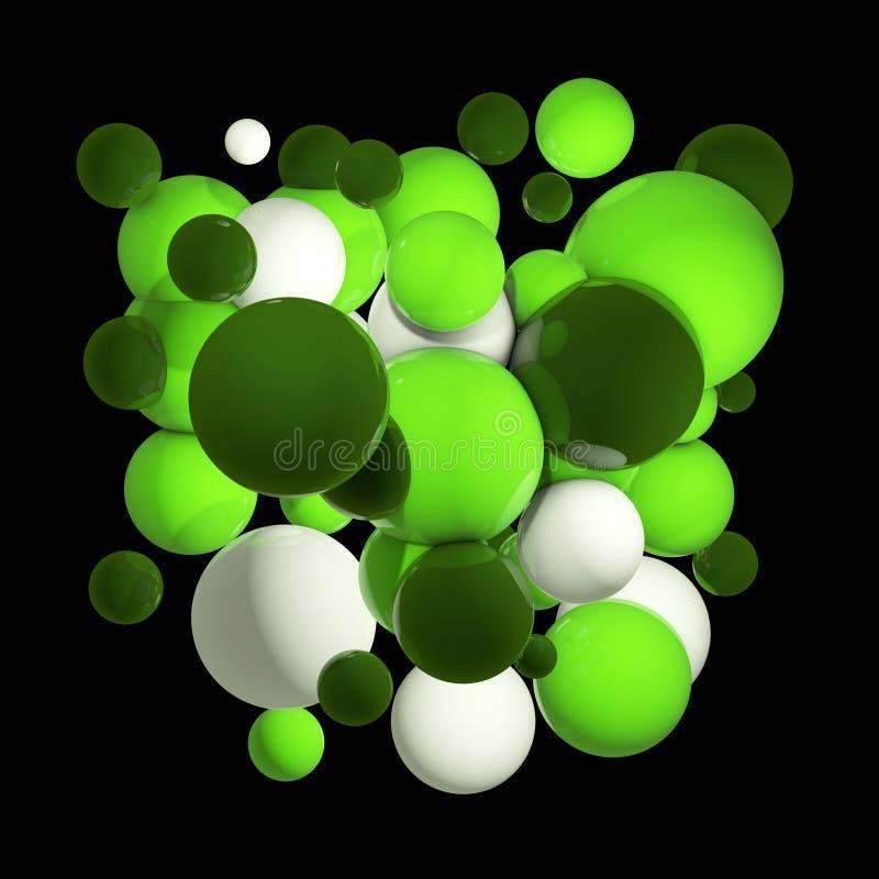 Groep gekleurde 3d gebieden Vliegende gebieden, abstracte bellen Groene ballen, die om orbs worden geïsoleerd 3D Illustratie royalty-vrije illustratie