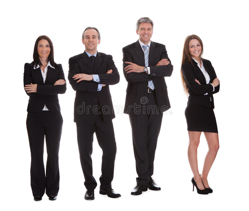 Groep gelukkig zakenlui stock afbeelding