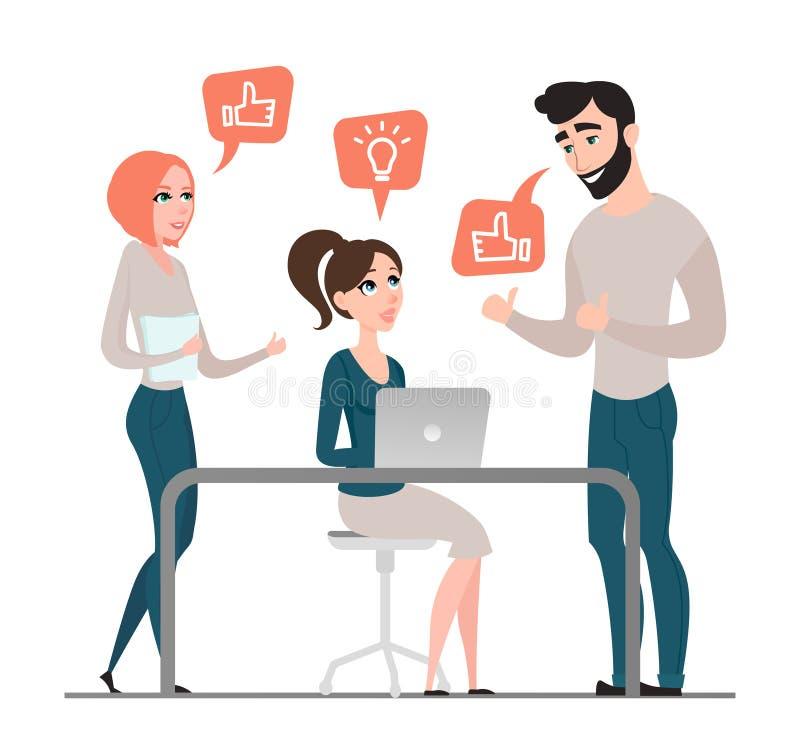 Groep gelukkige bedrijfsmensen Projectbespreking De stijl van het beeldverhaal groepswerk vlak royalty-vrije illustratie