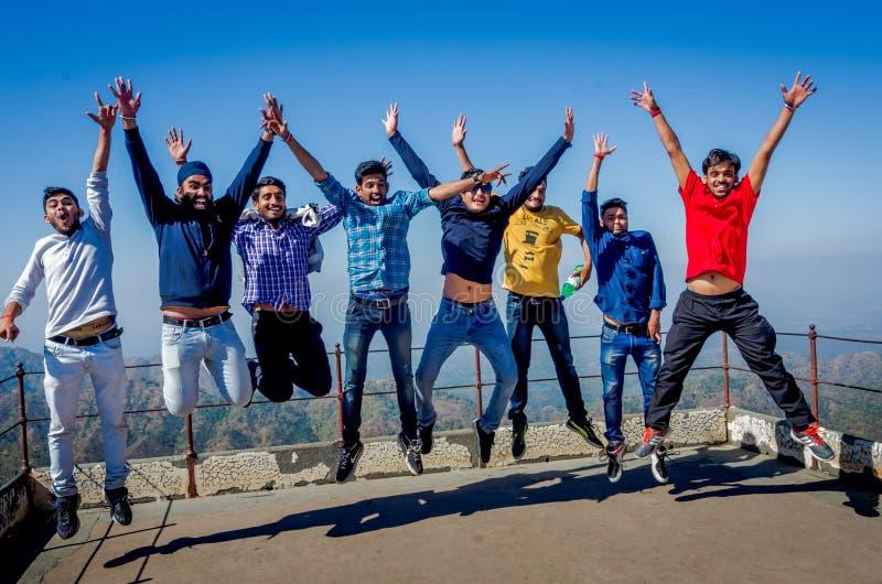 Groep gelukkige jonge studenten die de zomer van vakantie genieten stock foto