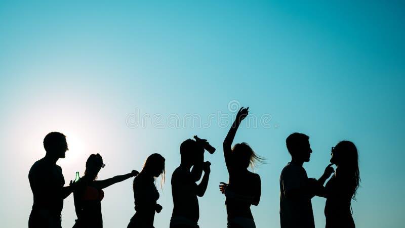 Groep gelukkige jongeren die de zomer van zonsondergang genieten royalty-vrije stock foto