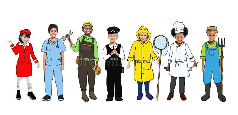 Groep Gelukkige Kinderen en Droom Job Concepts royalty-vrije stock afbeeldingen