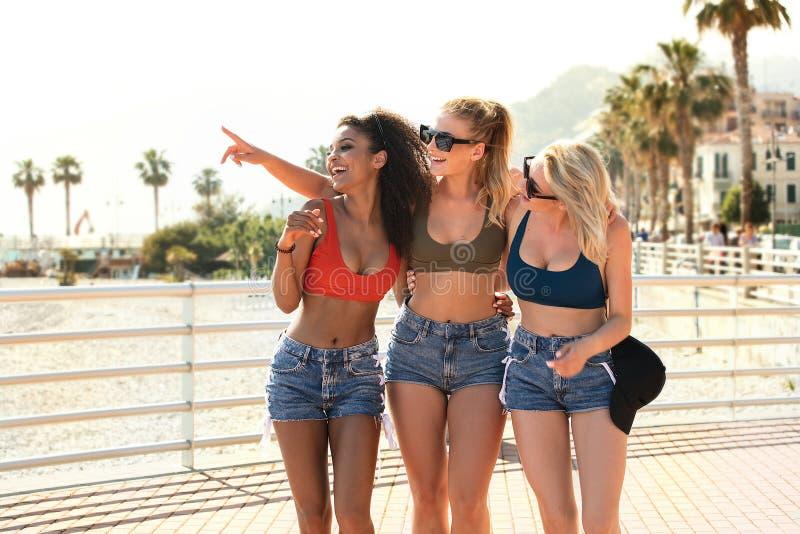 Groep gelukkige meisjes die pret hebben royalty-vrije stock fotografie
