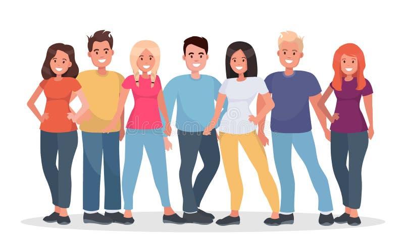 Groep gelukkige mensen in vrijetijdskleding op een witte achtergrond royalty-vrije illustratie