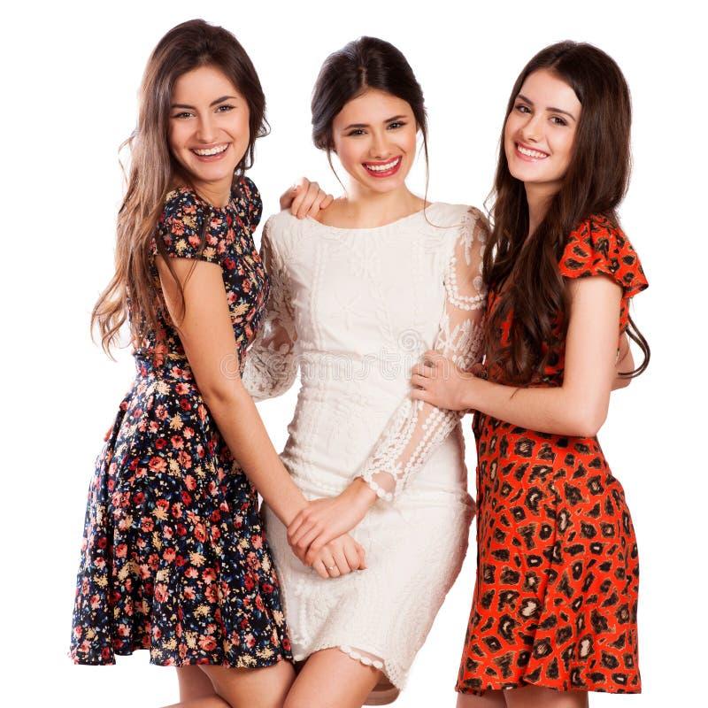 Groep gelukkige mooie lachende meisjes royalty-vrije stock afbeeldingen