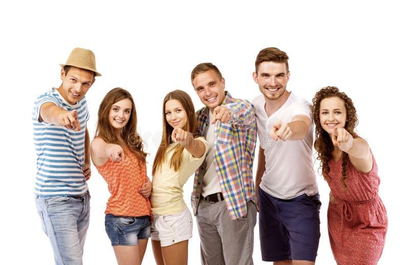 Groep gelukkige studenten stock foto's