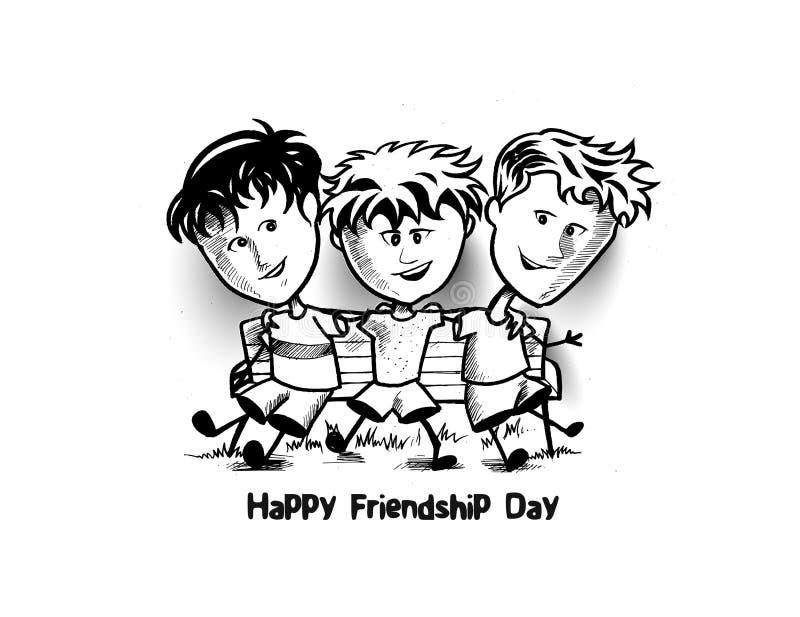 Groep gelukkige vrienden die Vriendschaps van Dag genieten Beeldverhaalhand Dra vector illustratie