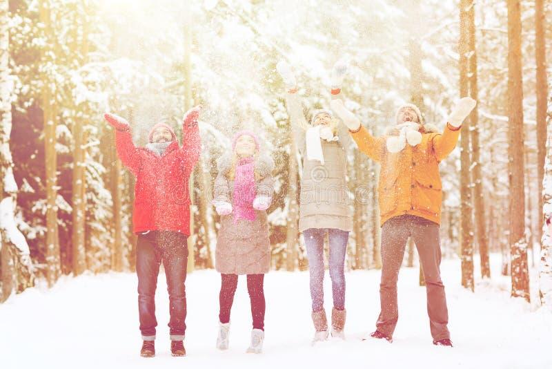 Groep gelukkige vrienden playin met sneeuw in bos stock foto's