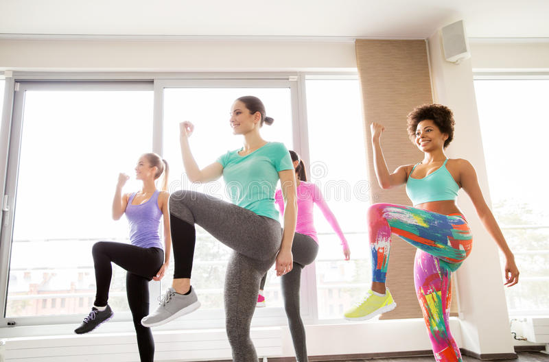 Groep gelukkige vrouwen die in gymnastiek uitwerken stock afbeelding