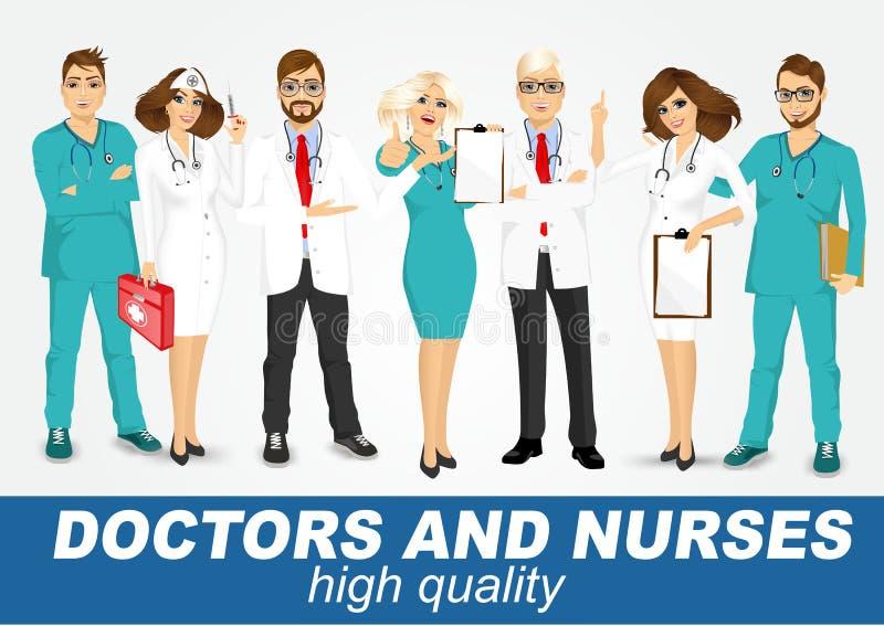 Groep geplaatste artsen en verpleegsters vector illustratie