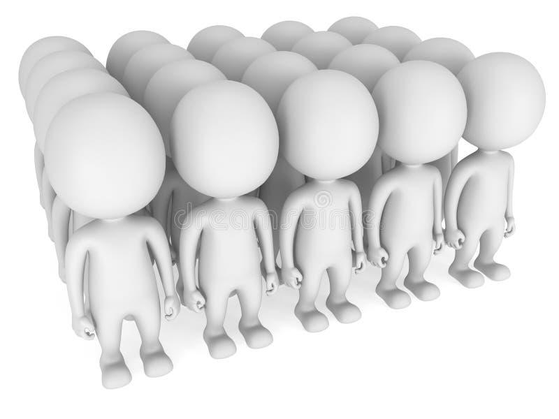 Groep gestileerde witte mensentribune op wit royalty-vrije illustratie