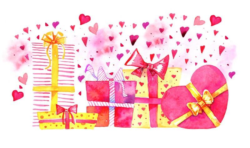 Groep giftdozen met harten Hand getrokken de schetsillustratie van het waterverfbeeldverhaal Rode en gele dozenvierkant en hartvo vector illustratie