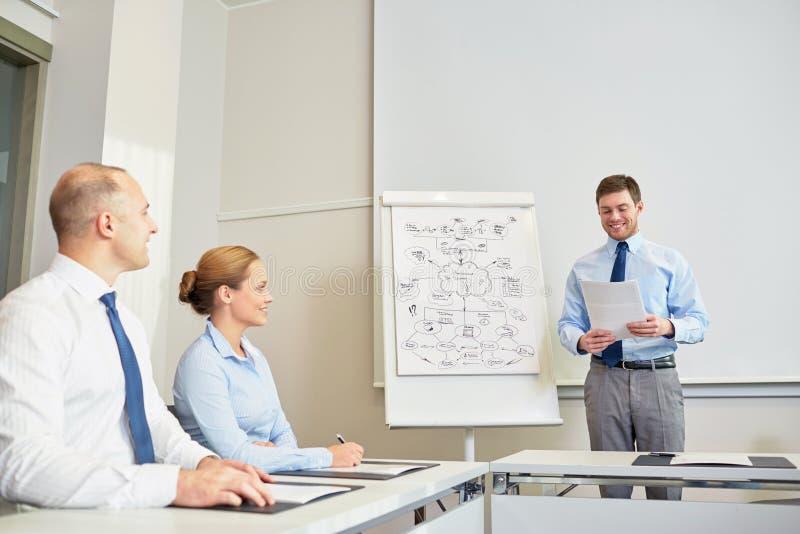 Groep glimlachend zakenlui die in bureau samenkomen stock foto's