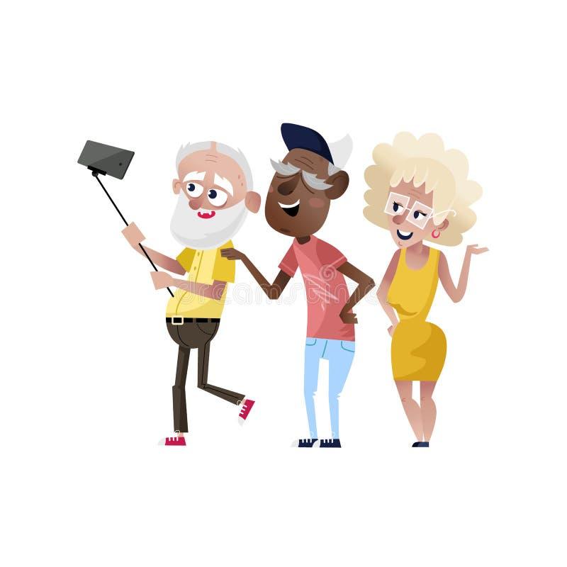 Groep glimlachende oude mensen die selfie doen vector illustratie