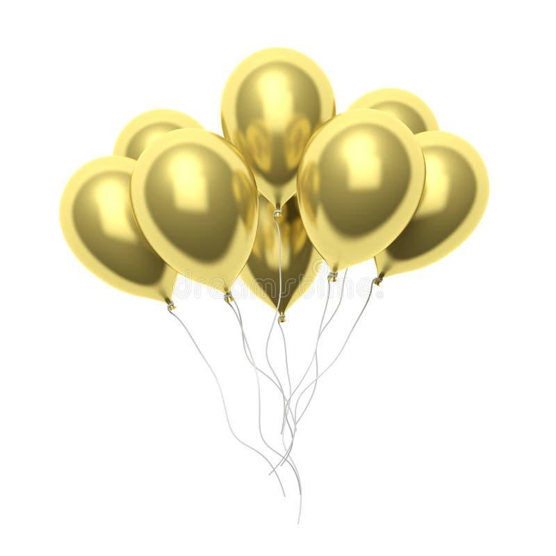 Groep gouden lege ballons vector illustratie