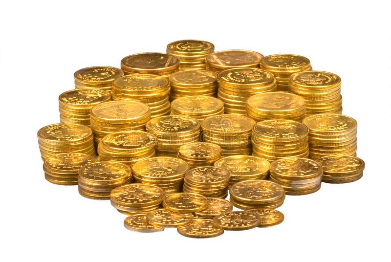 Groep gouden muntstukken stock afbeeldingen