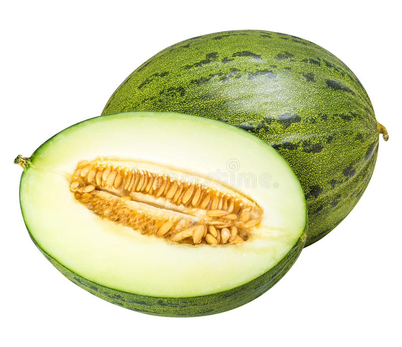 Groep groene die meloenen op witte achtergrond wordt geïsoleerd royalty-vrije stock afbeelding