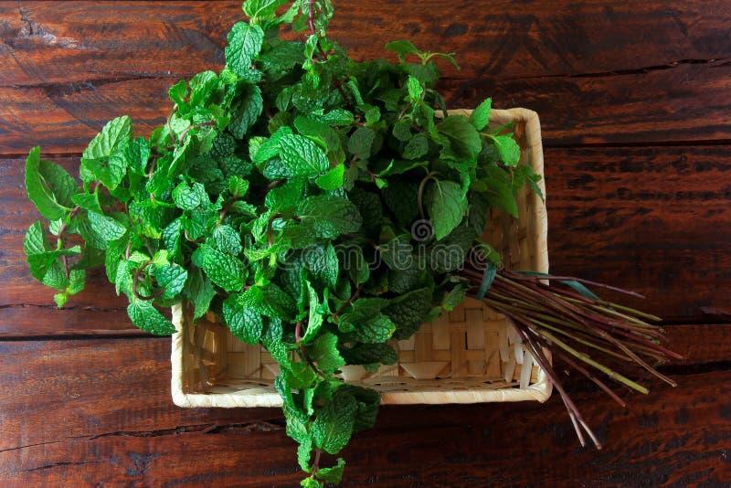 Groep groene organische verse munt in mand over rustiek houten bureau Aromatische pepermunt met geneeskrachtig en culinair gebrui stock afbeeldingen
