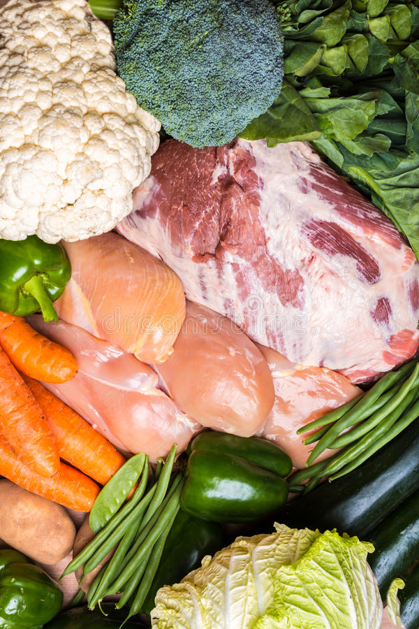 Groep groenten en vlees royalty-vrije stock fotografie