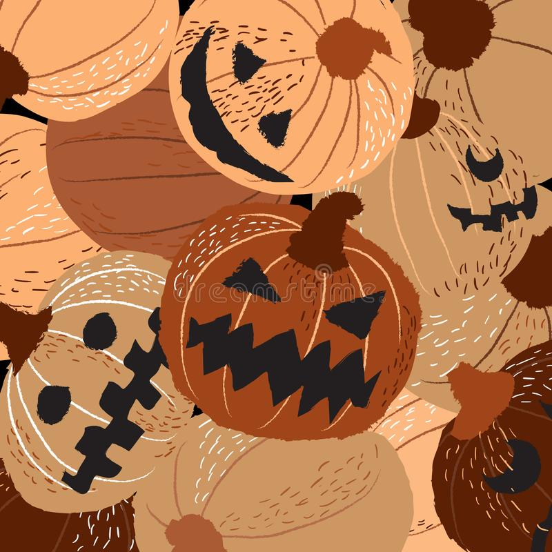 Groep Halloween-pompoenen het snijden stock illustratie