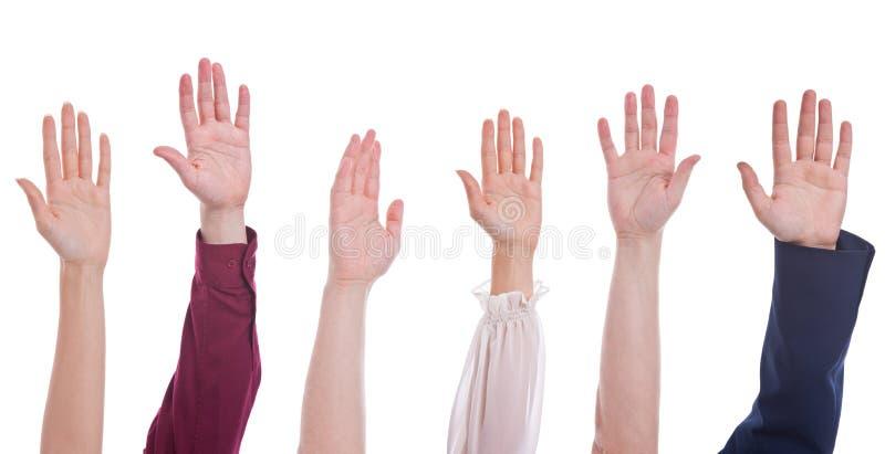 Groep handen omhoog stock afbeelding
