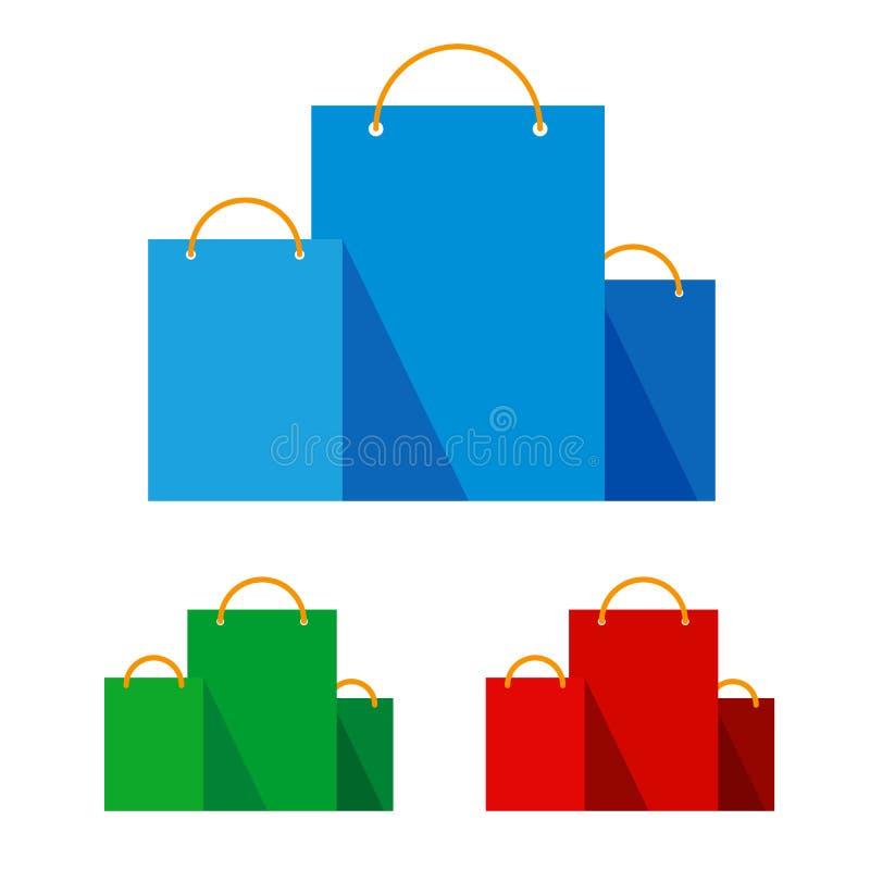 Groep heldere vlakke het winkelen zakken stock illustratie