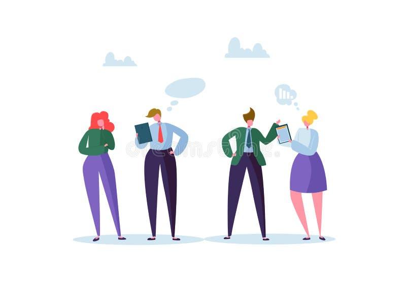 Groep het Bedrijfskarakters Babbelen Bureaumensen Team Communication Concept Het sociale Op de markt brengende Man en Vrouwen Spr vector illustratie