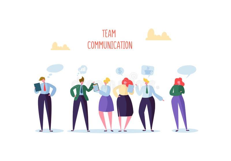 Groep het Bedrijfskarakters Babbelen Bureaumensen Team Communication Concept Het sociale Op de markt brengende Man en Vrouwen Spr royalty-vrije illustratie