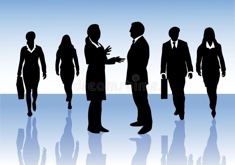 Groep het bedrijfsmensen op elkaar inwerken vector illustratie