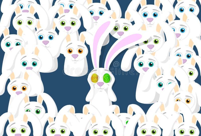 Groep het Concept van Konijnenbunny eggs eyes easter holiday vector illustratie