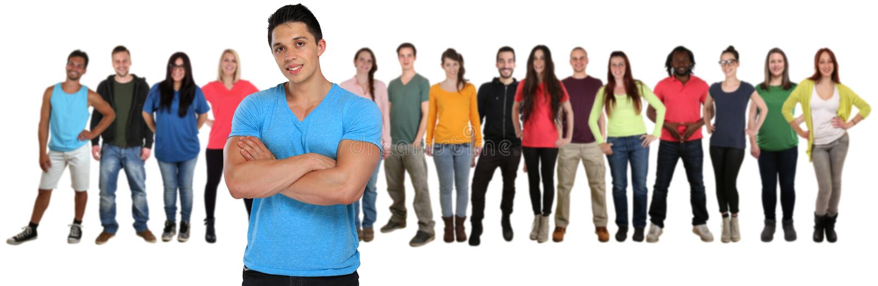 Groep het geïsoleerde team van jongerenvrienden met gekruiste wapens stock afbeelding