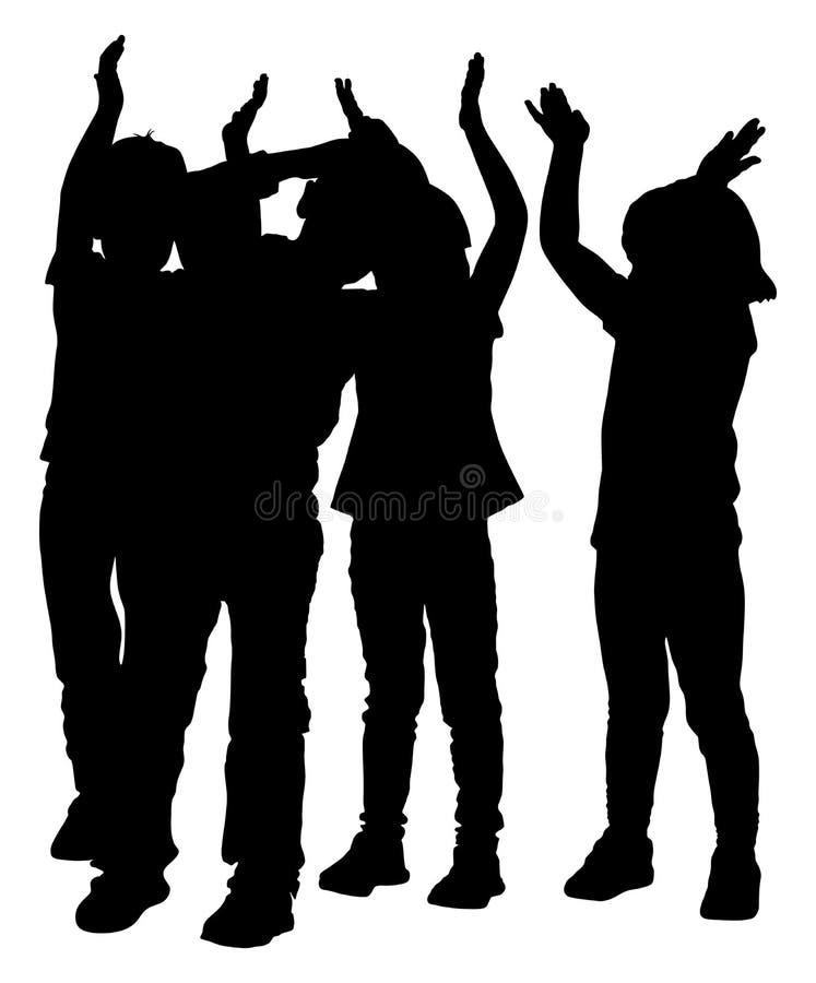 Groep het glimlachende kinderen, meisjes en jongens toejuichen, silhouet royalty-vrije illustratie
