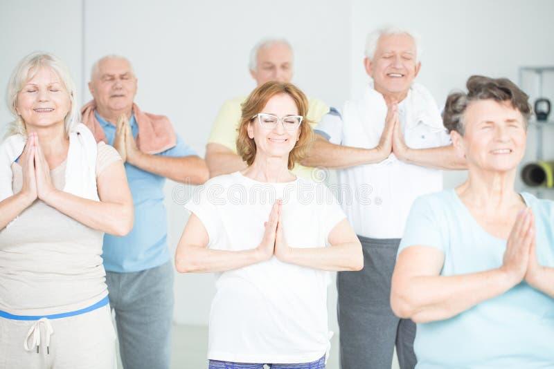 Groep het hogere mensen mediteren royalty-vrije stock afbeeldingen