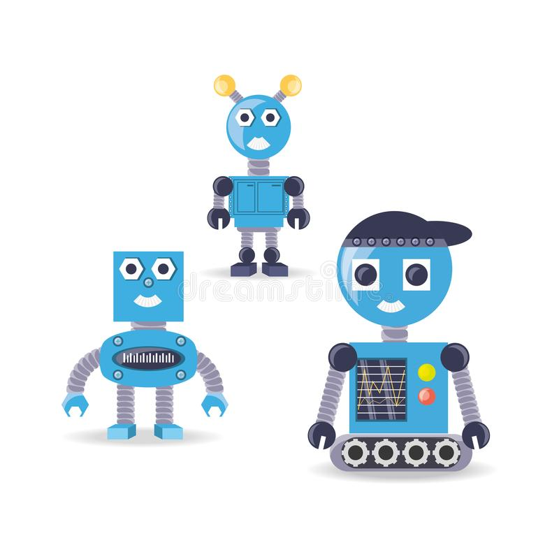 Groep het ontwerp van het robotbeeldverhaal royalty-vrije illustratie