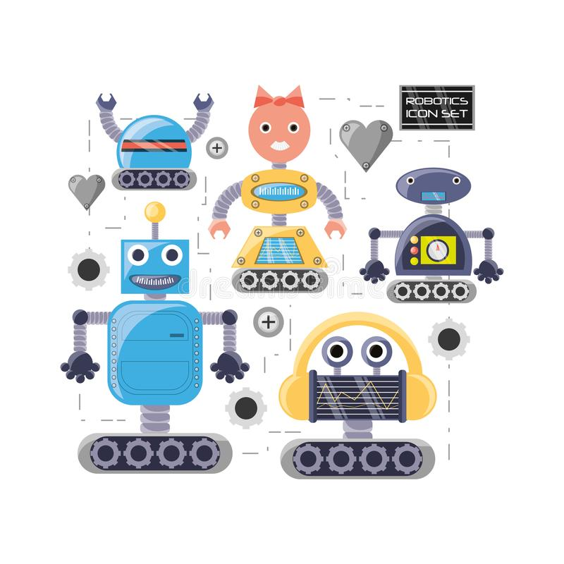 Groep het ontwerp van het robotbeeldverhaal vector illustratie